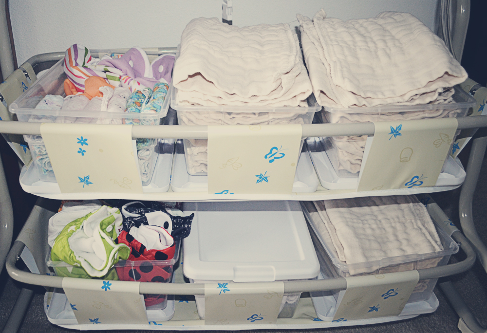 Our cloth diaper stash and storage