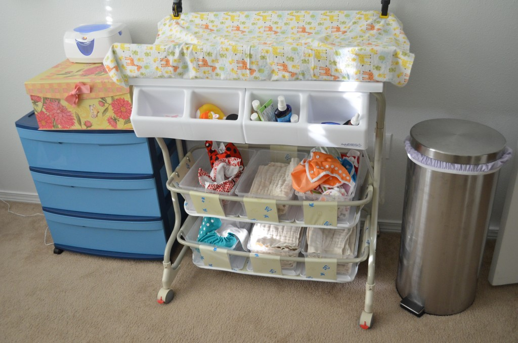 Baby Diego bathinette for cloth diaper storage