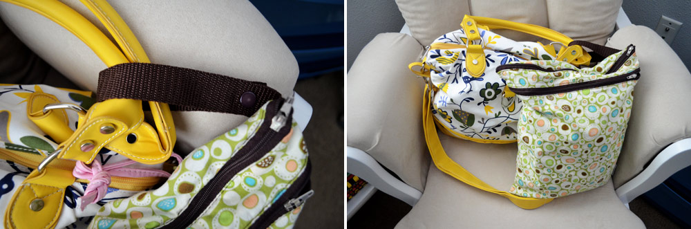 Planet Wise Wet Bag Snapped to Diaper Bag