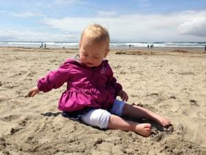 Isla's first trip to the beach