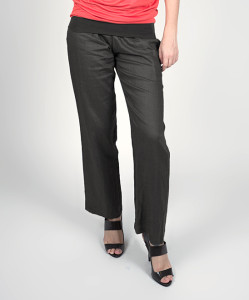 Dark Gray Panama Linen Over-Belly Maternity Pants