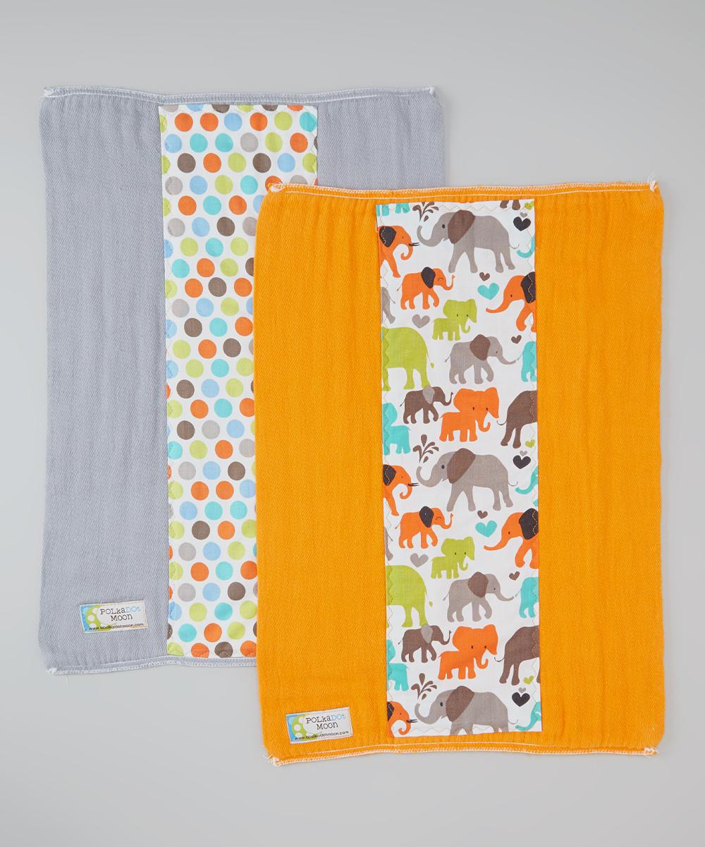 Gray Polka Dot & Orange Elephant Burp Cloths Set