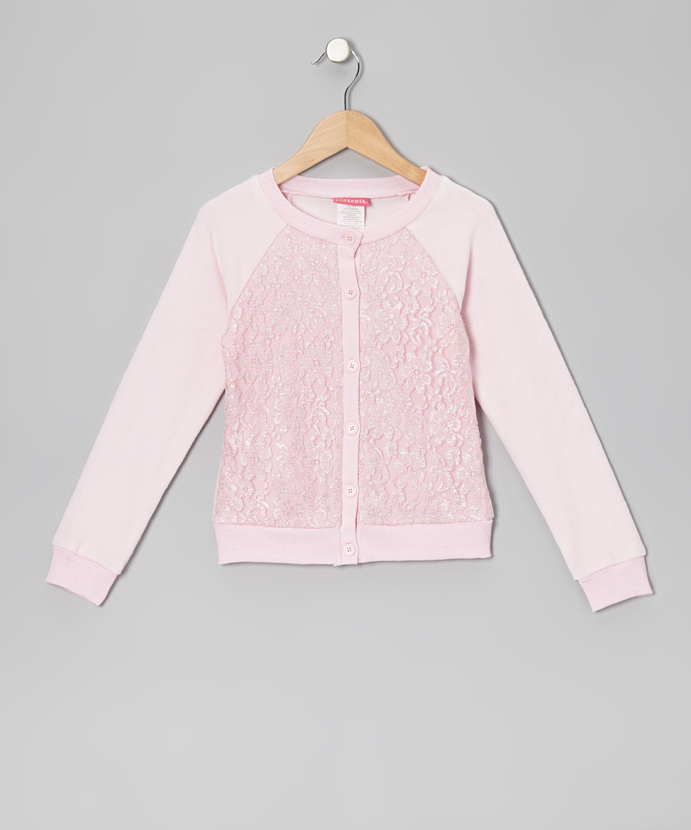 Light Pink Lace-Front Cardigan