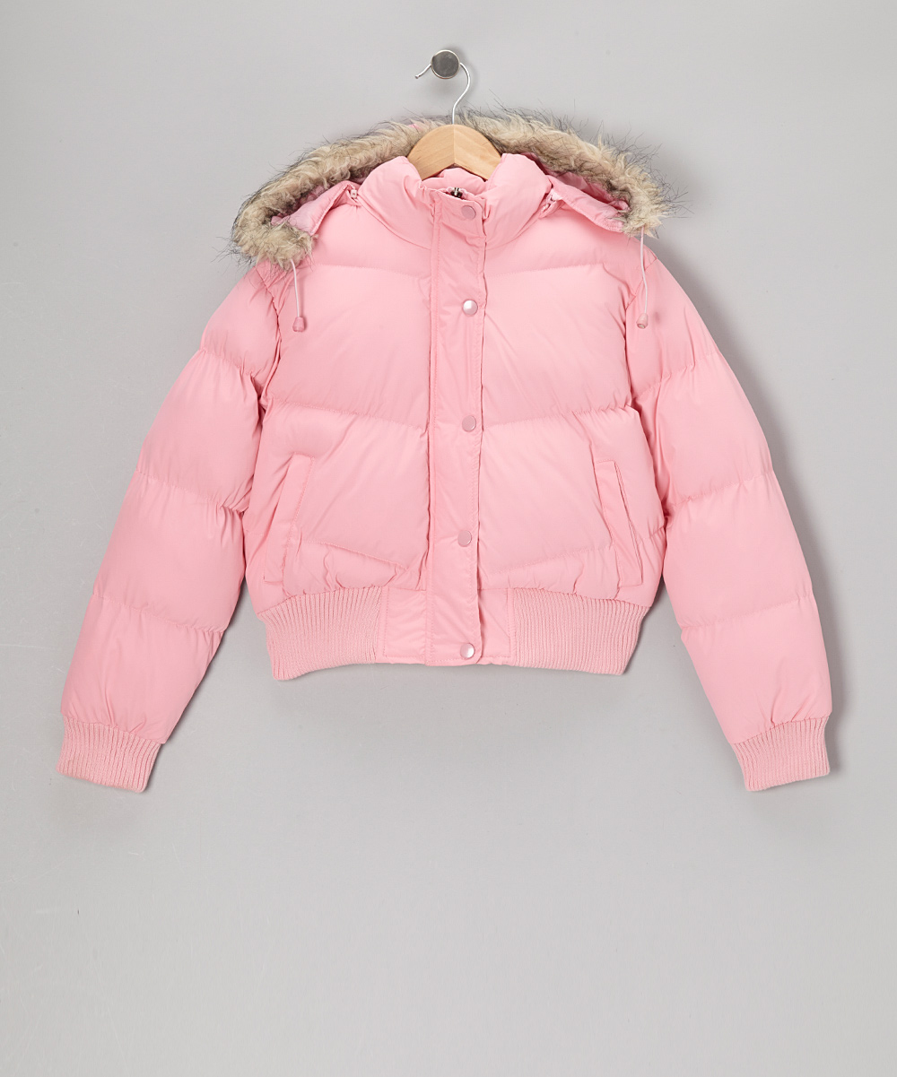 Pink Down Hooded Jacket