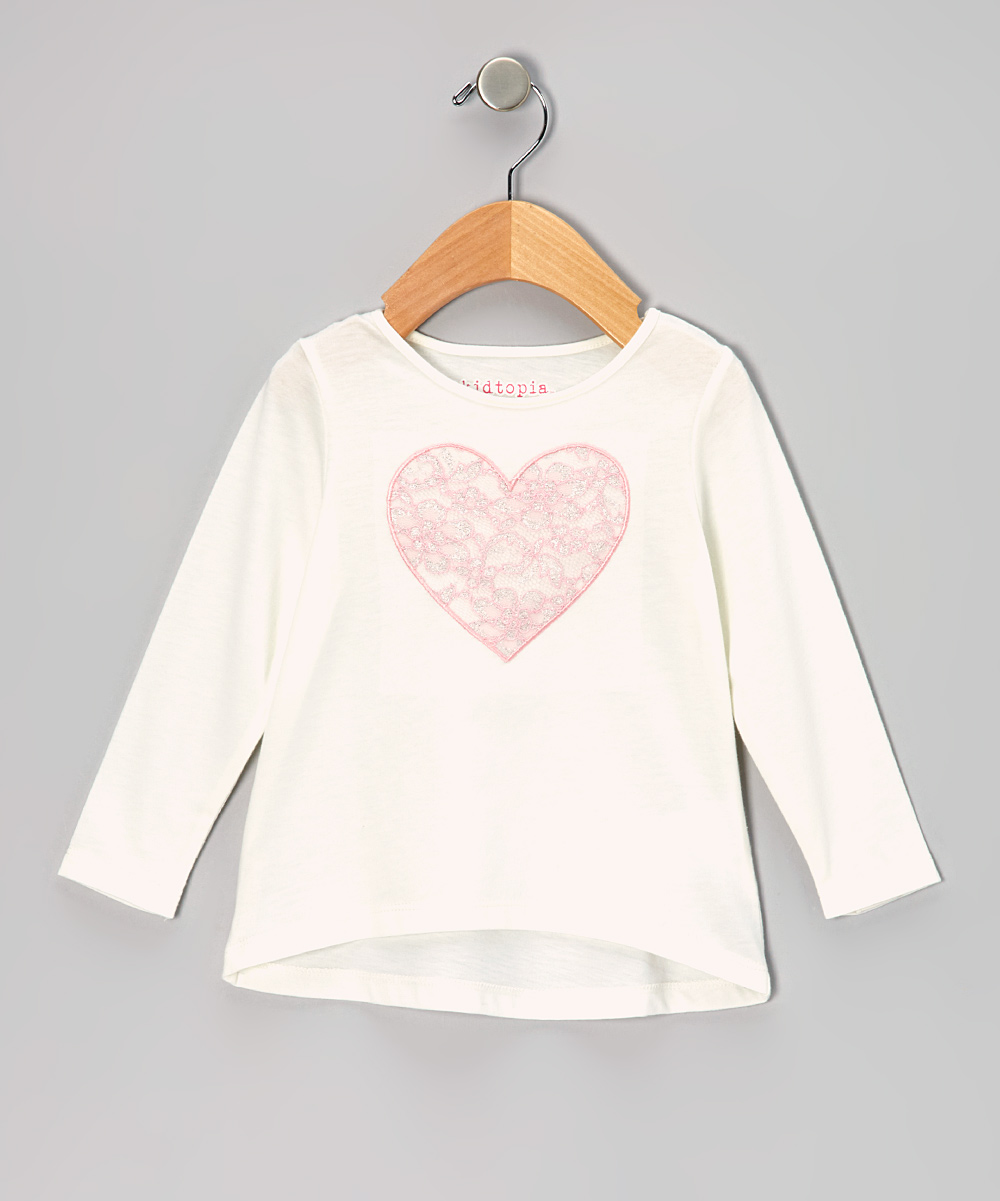 Ivory Lace Heart Long-Sleeve Tee