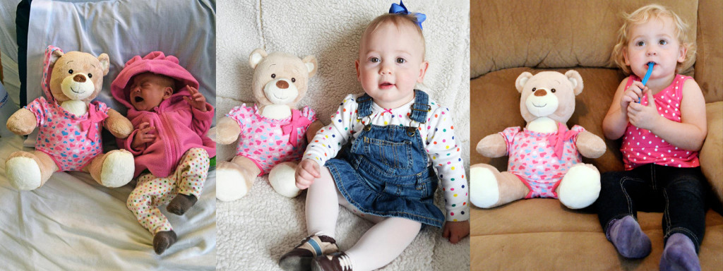 Isla with her bear at 3 days old, 1 year old, and 2 years old