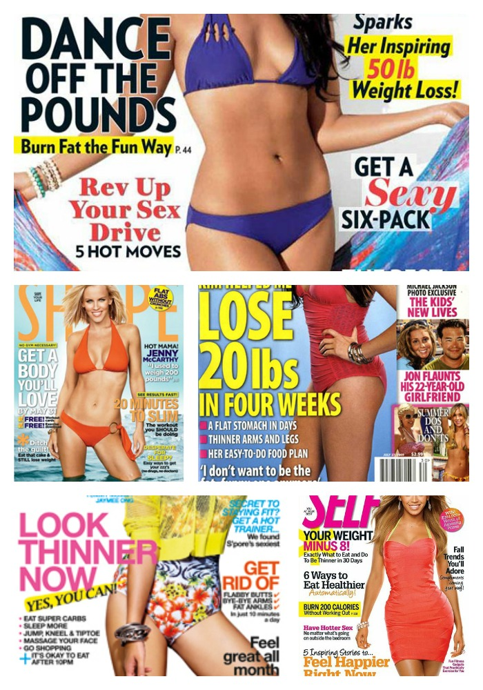 Magazine covers with weight loss features