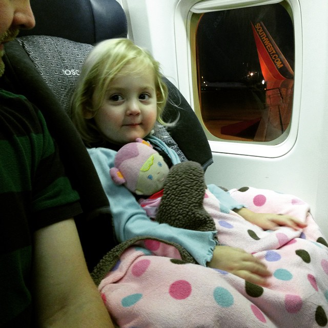 Isla in her Cosco Scenera flying Southwest