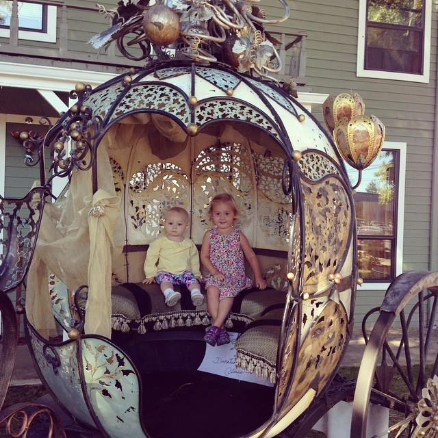 Isla and Leighland in Cinderella's carriage