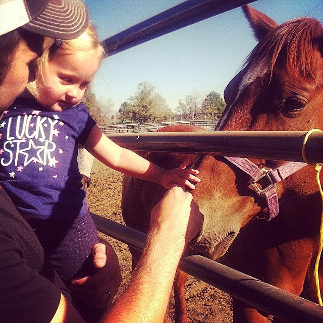 Isla petting a horse