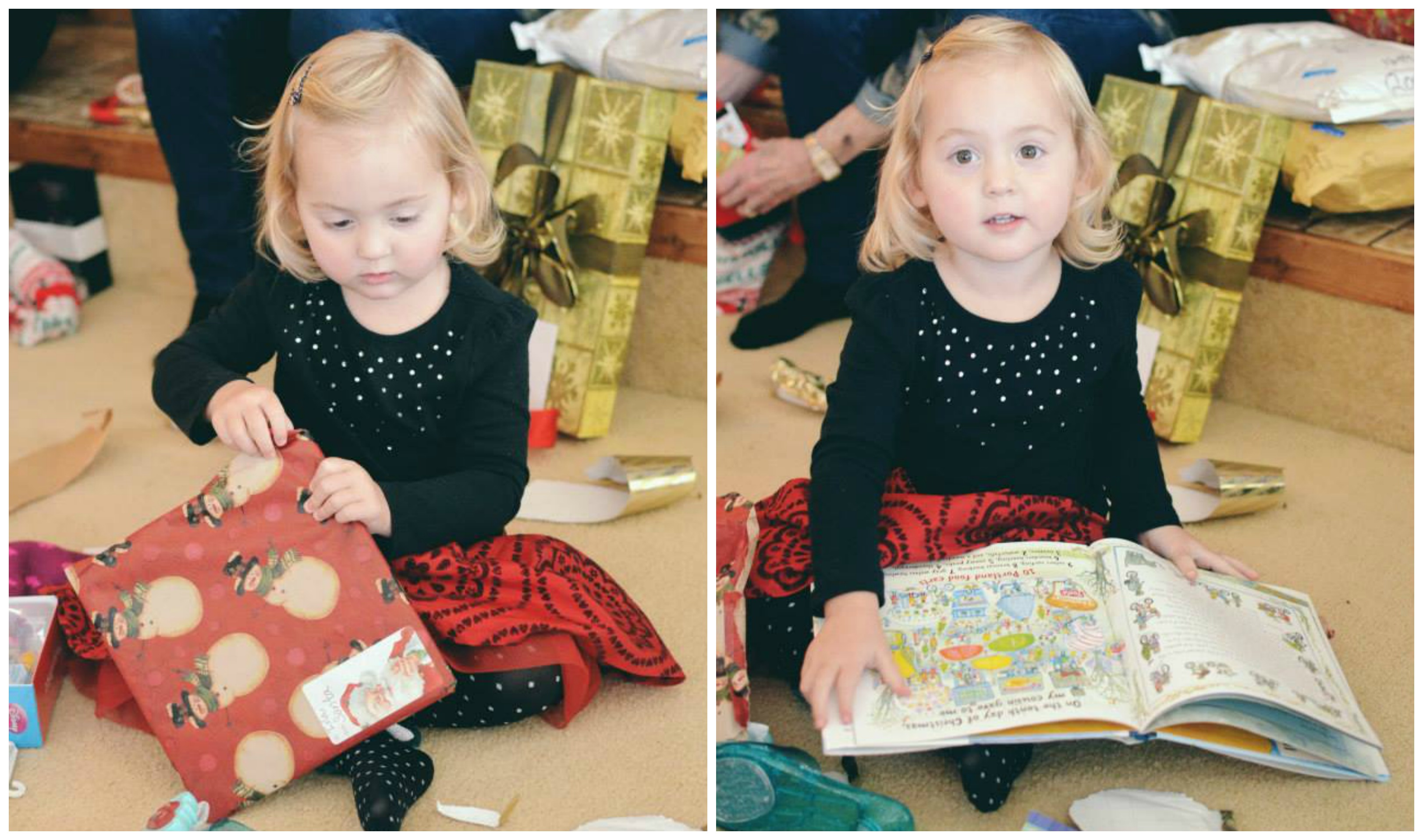 Isla opening Christmas presents