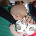 Happier moments from Isla's travels: naptime with Daddy